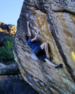 Ned Feehally has flashing Trust Issues, an 8B+ boulder problem at Rocklands in South Africa