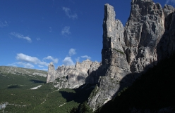 Torre Trieste in Civetta, Dolomites. In the background Torre Venezia