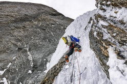 Technical ice on day 2 of climbing on the West face of Arjuna.