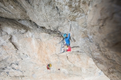 Simon Gietl cutting loose on Oblivion, first ascended with Andrea Oberbacher up Piz Ander in the Dolomites