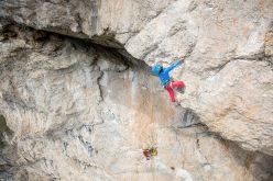 Simon Gietl breaching the obvious roof of Oblivion, first ascended with Andrea Oberbacher up Piz Ander in the Dolomites