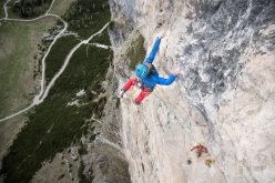 Simon Gietl climbing pitch 8 of Oblivion, first ascended with Andrea Oberbacher up Piz Ander in the Dolomites