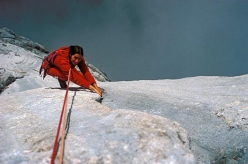 Luisa Iovane making the historic first ascent in 1982 with Heinz Mariacher of Tempi Moderni, Marmolada South Face, Dolomites