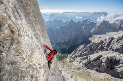 Hansjörg Auer starts 08/08/2016 be climbing in free solo the Vinatzer / Messner route on the South Face of the Marmolada.