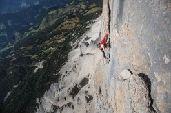 Hansjörg Auer free solo climbing on Grande Muro al Sass dla Crusc on 8 August 2016