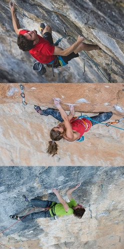 Stefano Ghisolfi, Margo Hayes and Adam Ondra, nominated for the Wild Country Rock Award 2017