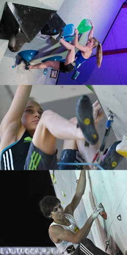 Shauna Coxsey, Janja Garnbret and Domen Škofič, nominated for the La Sportiva Competition Award