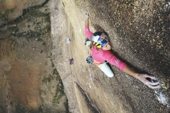 Sasha DiGiulian claiming the first female ascent of Mora Mora (5.14b, 8c), Tsaranoro, Madagascar, climbed with Edu Marin