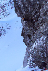 Dave Macleod making the first winter ascent of Anubis, Ben Nevis, Scotland.
