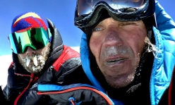 Gasherbrum I SW Face: Zdeněk Hák and Marek Holeček, totally shattered at the top of Gasherbrum I on 30 July 2017