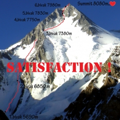 Gasherbrum I Southwest Face and the route Satisfaction (3000m, ED+ (M7,WI5+) 70° Marek Holeček, Zdeněk Hák 25/07 - 01/08/2017)