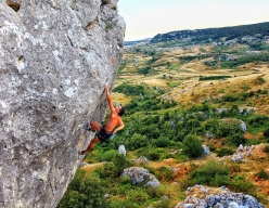 Pietro Radassao making the first ascent of Iron Moon 8c+/9a at Frosolone