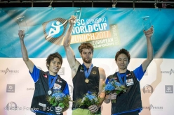 Male podium of the Bouldering World Cup 2017 in Munich:  2. Tomoa Narasaki 1. Jan Hojer 3. Taisei Ishimatsu