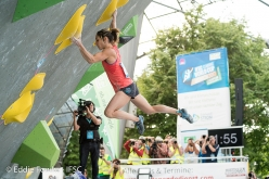 Alex Puccio competing in the last stage of the Bouldering World Cup 2017 in Munich