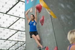 Akiyo Noguchi competing in the last stage of the Bouldering World Cup 2017 in Munich