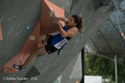 competing in the last stage of the Bouldering World Cup 2017 in Munich