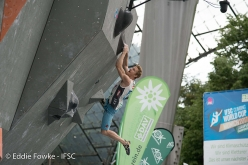 Jakob Schubertcompeting in the last stage of the Bouldering World Cup 2017 in Munich