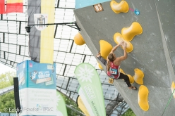Petra Klingler competing in the last stage of the Bouldering World Cup 2017 in Munich