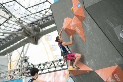 Stasa Gejo competing in the last stage of the Bouldering World Cup 2017 in Munich