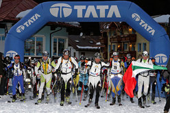 The start of the XV Sellaronda Skimarathon, Dolomites