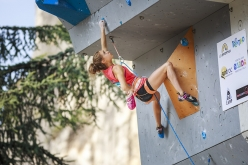 Margo Hayes competing at the Arco Rock Master 2017, which also acts ad the 4th stage of the Lead World Cup