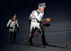 The winners  Guido Giacomelli and Hansjoerg Lunger competing in the XV Sellaronda Skimarathon, Dolomites