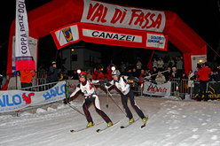 Annemarie Gross and Maddalena Weger, first female team to cross the finishing line of the XV Sellaronda Skimarathon