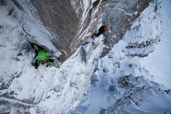 Ines Papert belayed by Ian Parnell on 'Blood, Sweat and Frozen Tears' VIII, 8, Beinn Eighe, Scotland