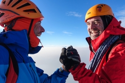 Michael Rinn and Simon Richardson on the summit of Monarch Mountain, Canada, after having made the first ascent of Game of Thrones (ED2, 1250m), the first route up the SW Pillar