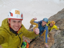 Pavel Kratochvíl, Róbert Luby and Martin Krasňanský celebrating the first free ascent of 'L'or du temps', Grand Capucin, Mont Blanc