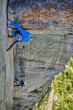Paolo Marazzi, belayed by Jacopo Larcher, making the first free ascent of Così parlò Zarathustra, Vallone di Sea, Italy