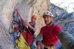 Maurizio Oviglia and Luca Giupponi at the belay during the first ascent of Unchinos (8b, 185 m) Sardinia
