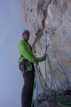 Spes Ultima Dea, Crozzon di Brenta: Gianni Canale at the belay on pitch 14