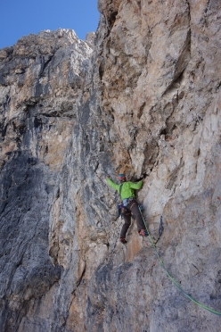 Spes Ultima Dea, Crozzon di Brenta: the most demanding section on the last pitch
