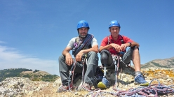 Marco Marrosu and Lino Cianciotto on the summit of Monte Muru Mannu, Sardinia