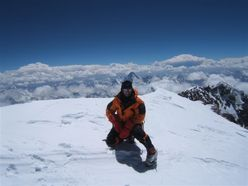 Nives Meroi on the summit of K2, reached with Romano Benet in 2006