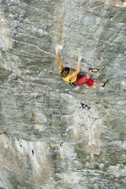 Alberto Gnerro making the first ascent of SS26 at Gressoney in Valle d'Aosta (08/2006).