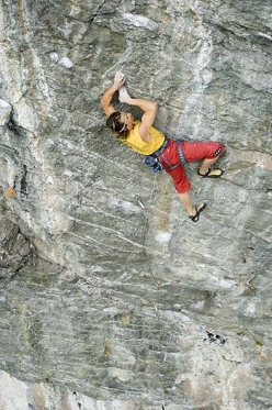 Alberto Gnerro making the first ascent of SS26 at Gressoney in Valle d'Aosta (08/2006). 95 moves long and completely natural