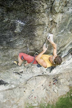 Alberto Gnerro making the first ascent of SS26 at Gressoney in Valle d'Aosta (08/2006)