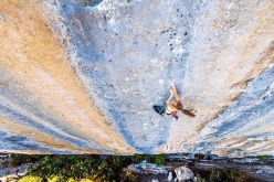 Margo Hayes on Biographie at Céüse in France, the benchmark 9a+ freed by Chris Sharma in 2001.