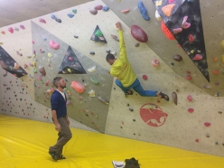 Teaching how to climb at the indoor climbing wall at Toblach during the Rock Climbing in the the Dolomites module of the Aspirant Mountain Guides 2017 - 2018