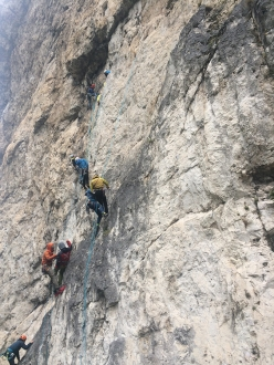 Self rescue test during the Rock Climbing in the the Dolomites module of the Aspirant Mountain Guides 2017 - 2018