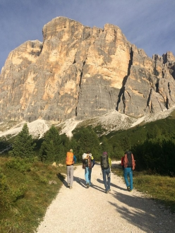 The approach to Tofana di Rozes during the Rock Climbing in the the Dolomites module of the Aspirant Mountain Guides 2017 - 2018