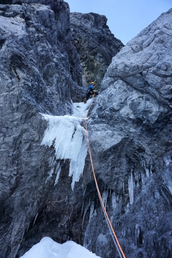Johannes Lemayer climbing steep ice and loose rock during the first ascent of a new mixed climb up Königsspitze together with Daniel Ladurner on 07/10/2017