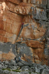 The first pitch of Big Groove (5c) Tafelberg