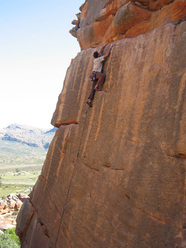 Climbing at Rocklands on a grade 6a+