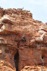 Sport climbing in the Wolfberg area on a grade 6b+