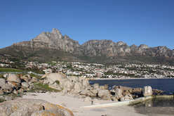 Table Mountain from the Atlantic side where all the trendy beaches are. The best climbing is on the summit cone on the left.