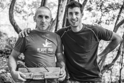 Alfredo Webber with Patrick Bilatti after his ascent of Thunder Ribes 9a at Massone, Arco