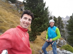 Manuel Nocker and Armin Senoner on the summit of Monte Steviola, Vallunga (Puez-Odle) Dolomites after having made the first ascent of making the first ascent of Via Mirko